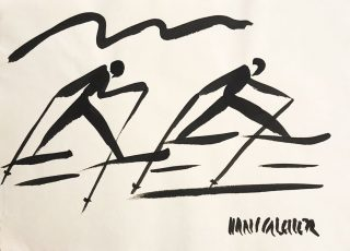 Hans Salcher Painting: Cross-country skiing